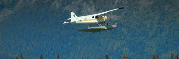 Float plane in take-off mode